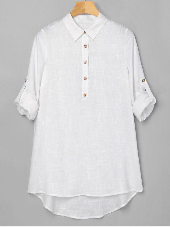 fashion Half Button High Low Dress - WHITE L
