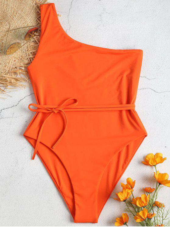 trendy Belted One Shoulder One-piece Swimsuit - ORANGE L