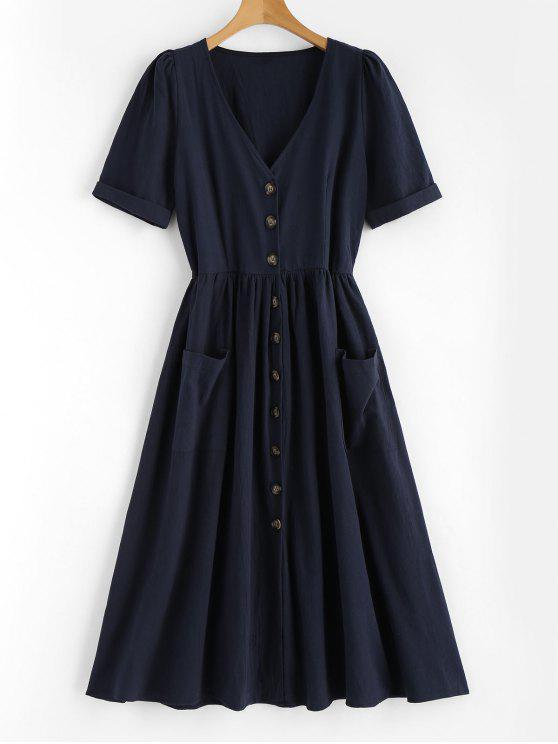 Robe Mi-Longue Cintrée et Ample avec Boutons sur le Devant et Poches - Bleu Foncé L
