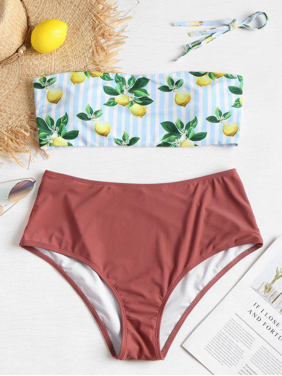 Bikini Plus Size A Vita Alta A Righe Con Stampa Limone - Rose Finch 3X