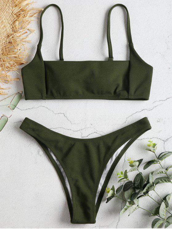 Quadratischer Kragen Gerippter Bikini - Rehbraunes Grün S
