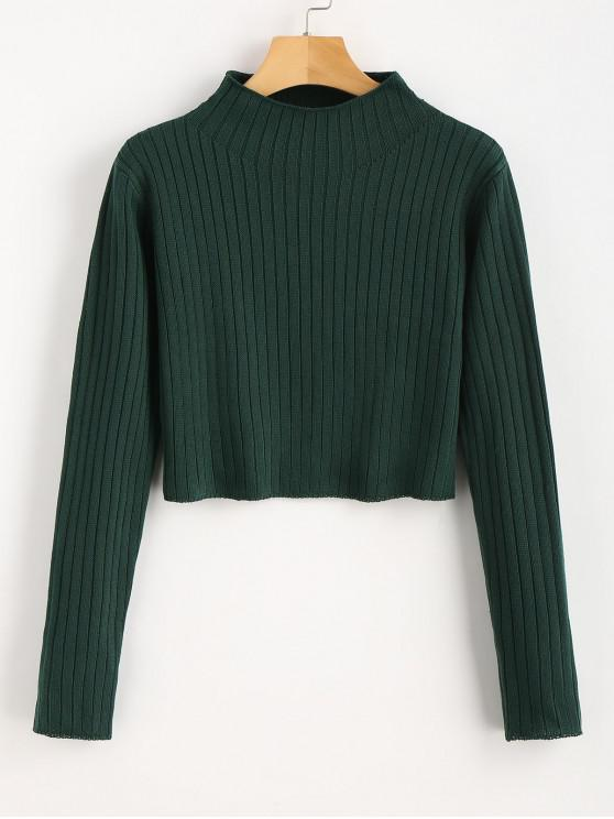 fashion Mock Neck Ribbed Sweater - DEEP GREEN S