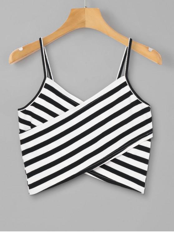 buy Striped Overlap Cami Top - BLACK S