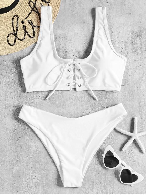 hot Lace Up Padded Bikini Set - WHITE L