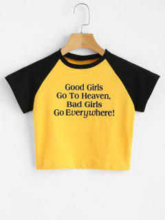 Cropped Letter Graphic Tee - Yellow L