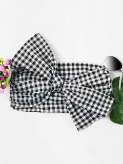 Gingham Knotted Bandeau Top - Black S