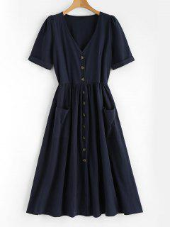 Pockets Button Front Loose Fitting Midi Dress - Deep Blue L