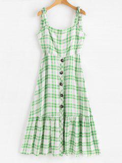 Robe Mi-longue Boutonnée Et Imprimée En Carreaux Avec Epaules En Cordon   - Vert M