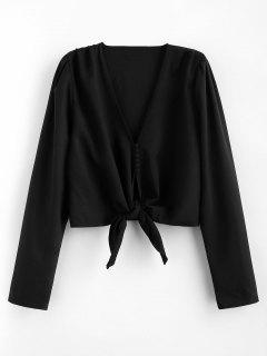 Long Sleeve Tie Front Button Up Top - Black L