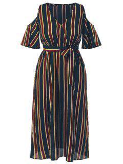 Robe Maxi Rayée à épaules Dénudées Grande Taille - Multi 3x