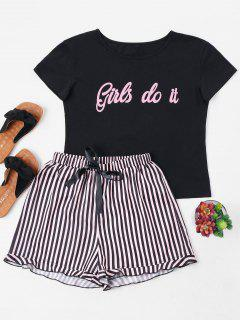 Letter And Striped Shorts Set - Black L