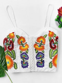 Embroidered Cami Top - White Xl
