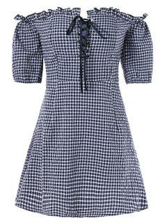 Lace Up Gingham Dress - Dark Slate Blue Xl