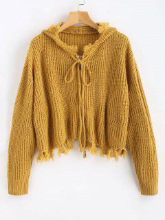 Frayed Hem Hooded Cardigan - Golden Brown M