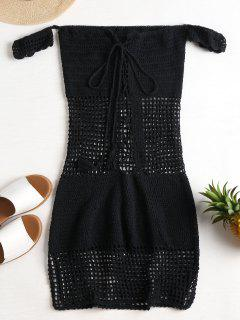 Open Knit Off Shoulder Cover Up Dress - Black