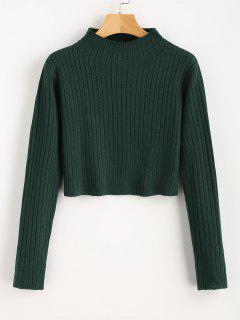 Mock Neck Ribbed Sweater - Dunkelgrün M