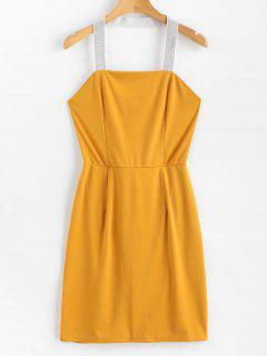 Glittering Halter Strap Bodycon Mini Dress - Rubber Ducky Yellow M