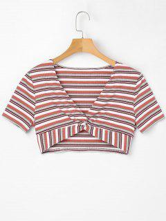 Low Cut Striped Twist Tee - Light Pink M