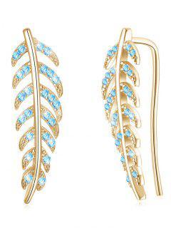 Pendientes Colgantes De Hojas De Cristal Coloreado - Azul Circonita
