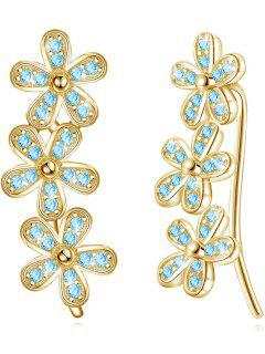 Colored Crystal Floral Wedding Drop Earrings - Blue Lagoon