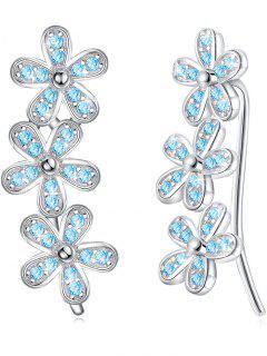 Pendientes Colgantes Florales De Cristal Coloreado De La Boda - Azul Circonita