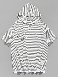 Hooded Striped Drop Shoulder Tee - White L
