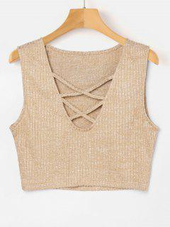 Criss Cross Low Cut Tank Top - Blanched Almond M