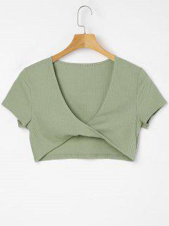 Plunging Neck Twisted Tee - Iguana Green M