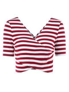 Stripes Plunge Wrap Tee - Red Wine Xl