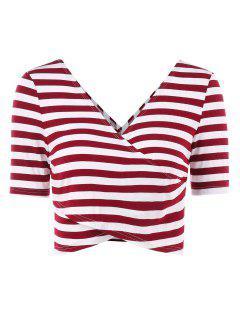 Stripes Plunge Wrap Tee - Red Wine L
