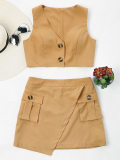 Buttoned Sleeveless Skirt Set - Camel Brown L