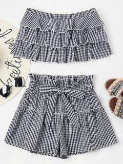 Tiered Gingham Shorts Set - Black M