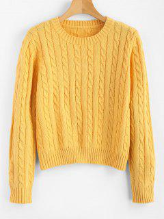 Cable Knit Pullover Sweater - Yellow S
