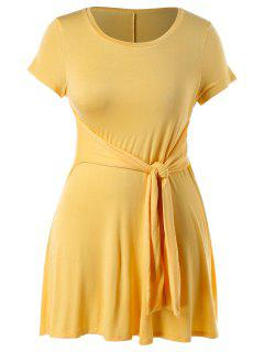 Plus Size Knot Front A Line Dress - Bright Yellow 1x