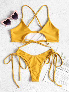 Cutout Tie Side Bralette Bikini Set - Sun Yellow S