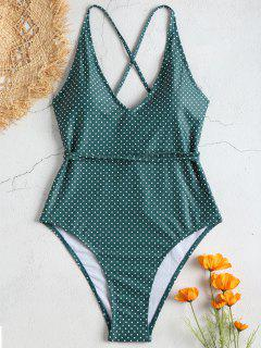 Self Tie Polka Dot One Piece Swimwear - Greenish Blue S