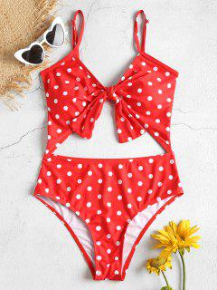 Cut Out High Leg Polka Dot Swimsuit - Red S