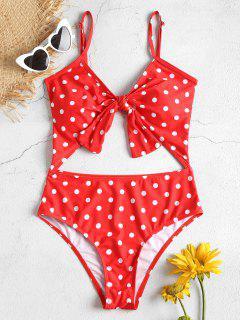 Cut Out High Leg Polka Dot Swimsuit - Red M