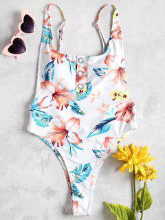 Knopf Hohes Bein Blumen Kleid - Weiß L