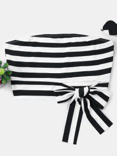 Knotted Striped Tube Top - Black L