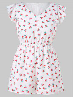 Butterfly Sleeve Plus Size Cherry Print Romper - White 1x