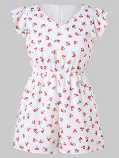 Butterfly Sleeve Plus Größe Cherry Print Strampler - Weiß 3x