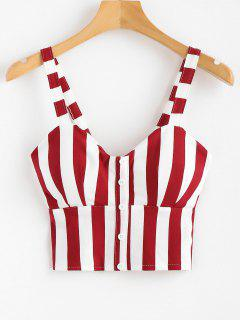 Smocked Buttoned Tank Top - Chestnut Red M