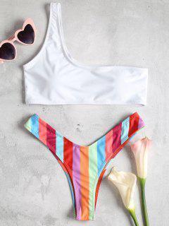 Regenbogen Streifen Eine Schulter Bikini Set - Multi-j L