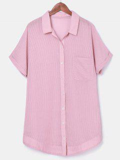 Button Up Striped Pocket Dress - Light Pink L