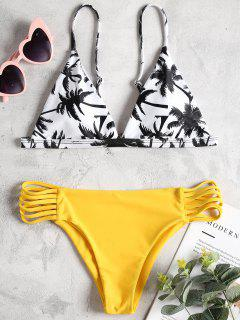 Coco Palm Print Ladder Cut Bikini Set - Sun Yellow S