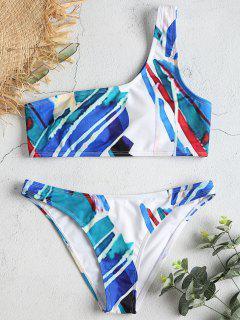 Conjunto De Bikini De Un Solo Hombro Con Estampado Abstracto - Multicolor-a L