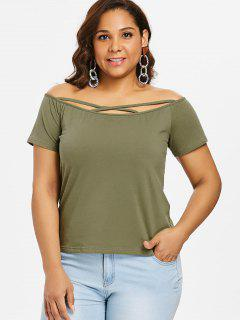 Cross Strap Off Shoulder Plus Size Tee - Army Green 1x