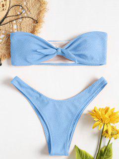 Schleife Textured Bandeau Bikini Set - Helles Himmelblau S