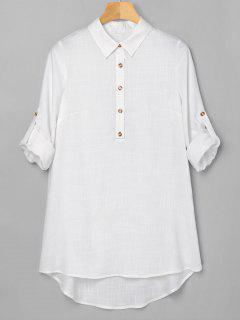 Half Button High Low Dress - White M